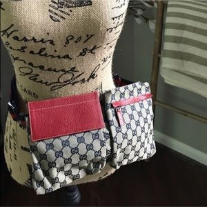Gucci GG print belt bag in red and navy